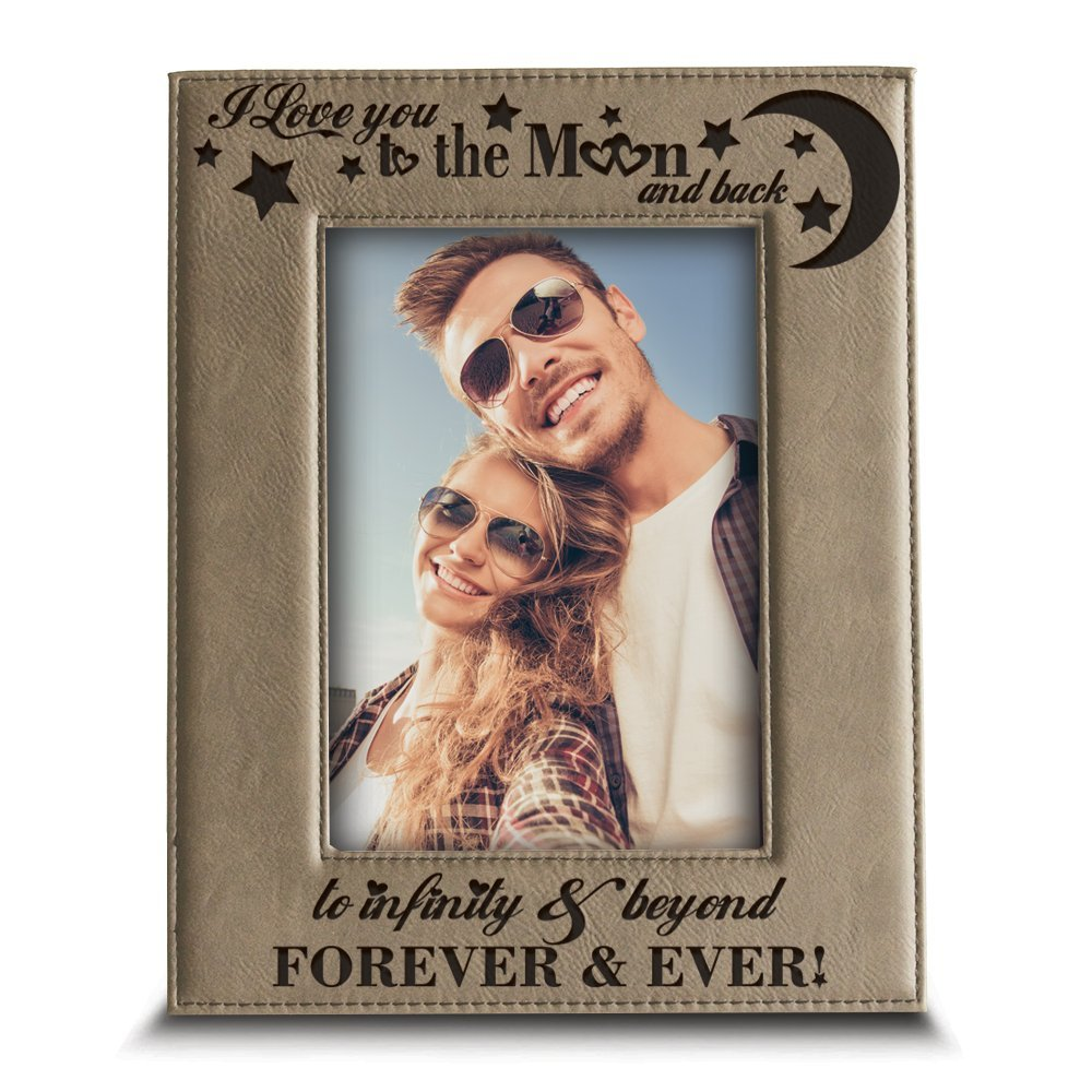 BELLA BUSTA - I love you to the moon and back, to infinity and beyond, forever & ever - EngravedLeather Picture Frame (4''x 6'' Vertical)