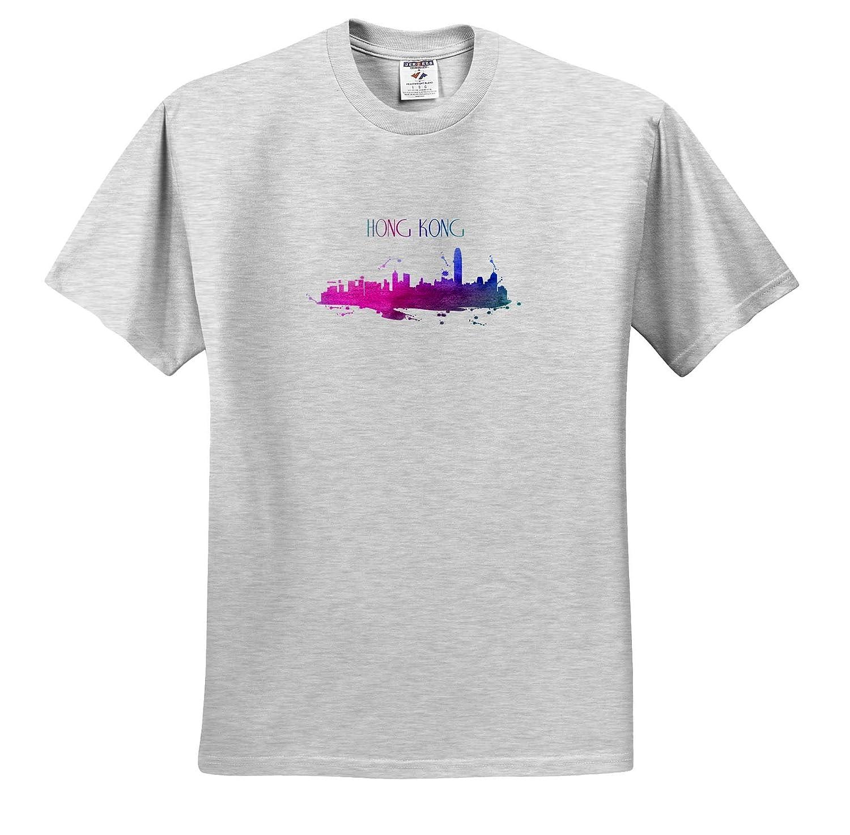 Adult T-Shirt XL Hong Kong China Chinese Skyline with Wonderful Colors 3dRose Sven Herkenrath City ts/_311018