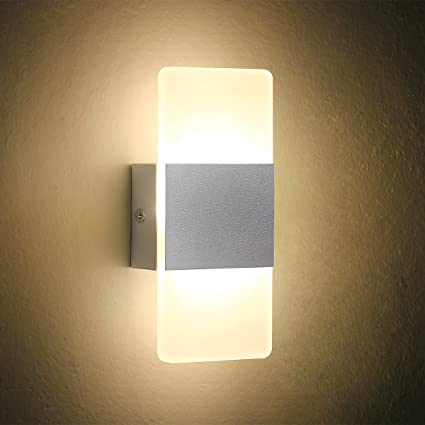 oenbopo LED Wall Light Bedside Wall Lamp, Modern Acrylic LED Bedroom ...