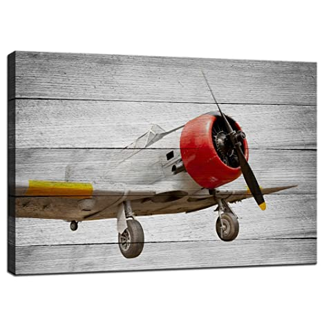 Live Art Decor Plane Canvas Wall Art Old Aircraft On Vintage Wood Grain Background Picture Canvas Prints Stretched Modern Home Kids Room