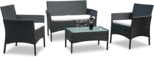 Hengda® Muebles de Jardín Mesa de Café Sillones mimbre Relax exterior Conjunto Ratán: Amazon.es: Jardín
