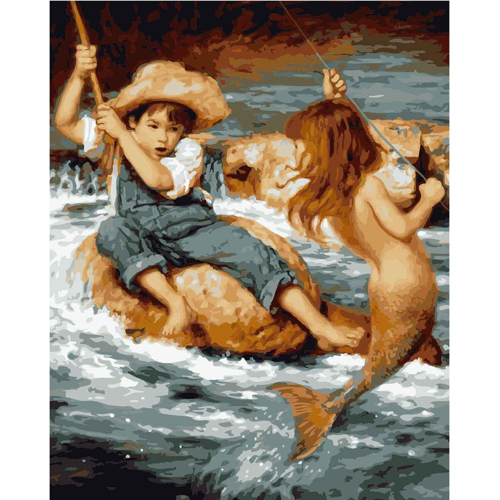 LICSE Diy Oil Painting Paint By Number Paintworks 16 x 20 Love of the Mermaid