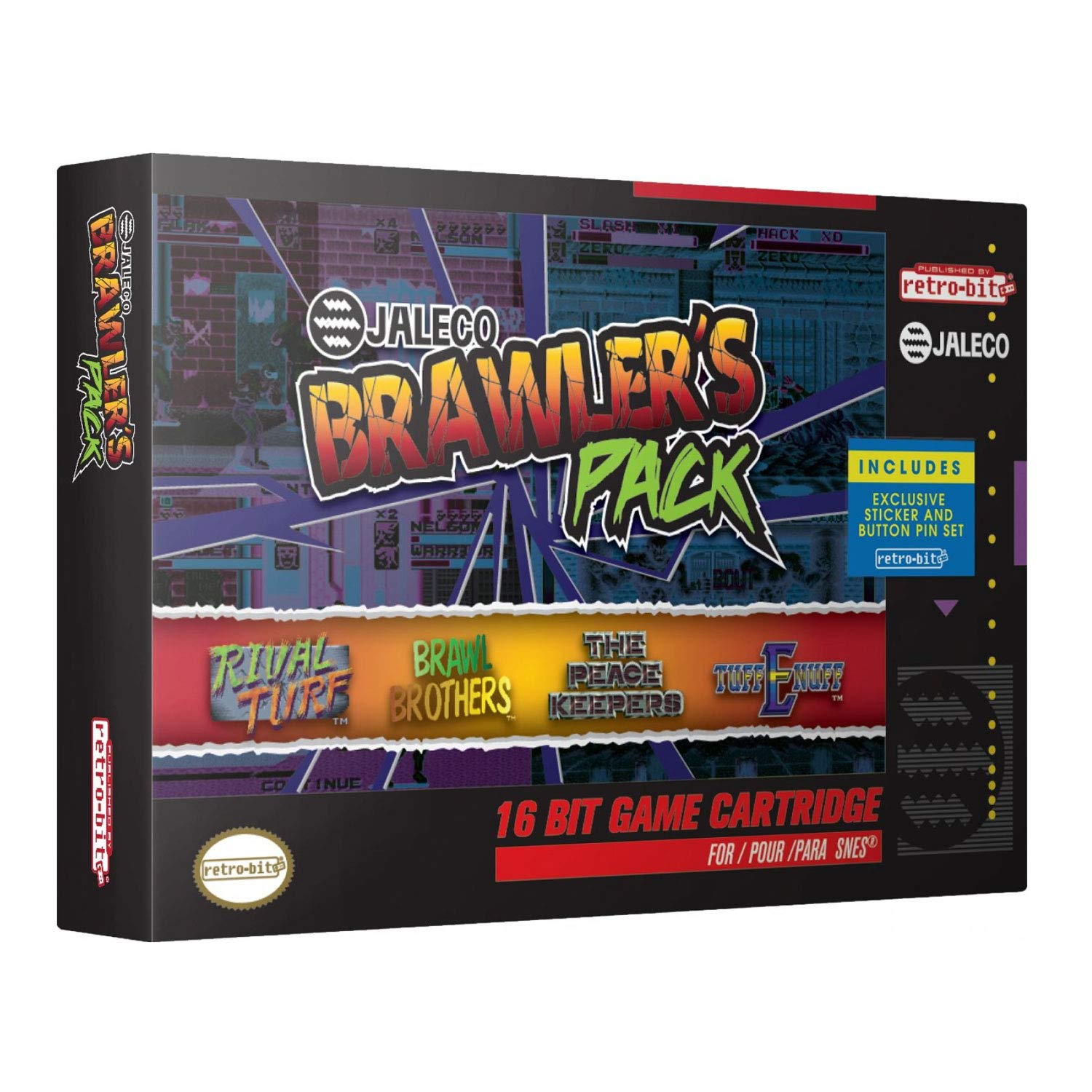 Retro-Bit Jaleco Brawler's Pack SNES Cartridge - 4 Games in 1 - Super NES