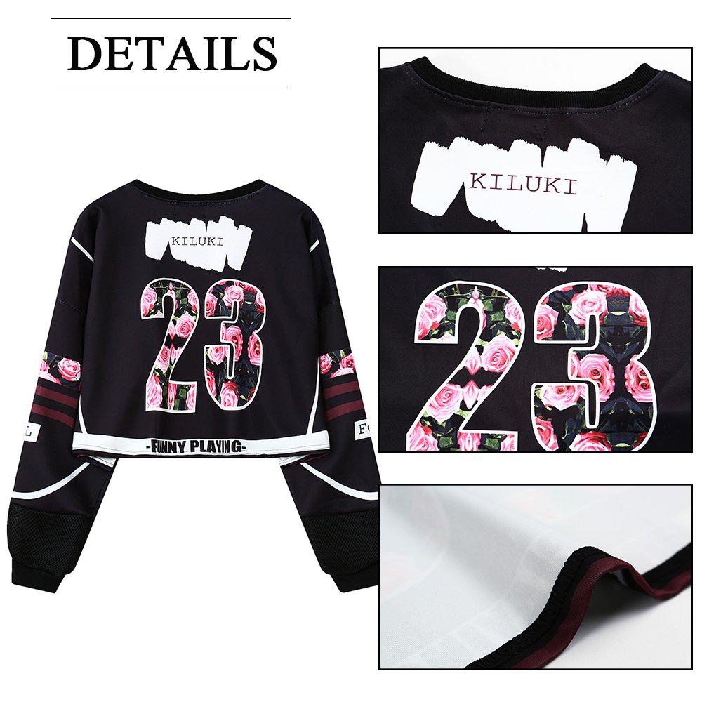 My Sky Women Teen Girls Digital Print Long Sleeve Crop Top Sweatshirt Black(Rose) by My Sky (Image #4)