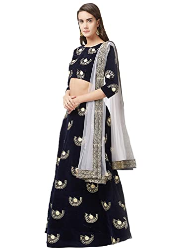 01416e088 Peachmode Women's Navy Blue Colored Embroidered Tapeta Velvet Lehenga Choli:  Amazon.in: Clothing & Accessories