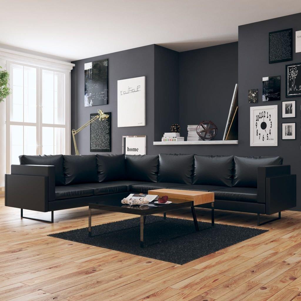 divano in pelle ad angolo nero