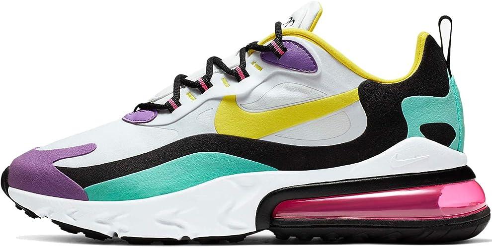 Nike Air Max 270 React Geometric Abstract AO4971-101 Blanco Dinámico Amarillo Negro Brillante Violeta, color Blanco, talla 45.5 EU: Amazon.es: Zapatos y complementos