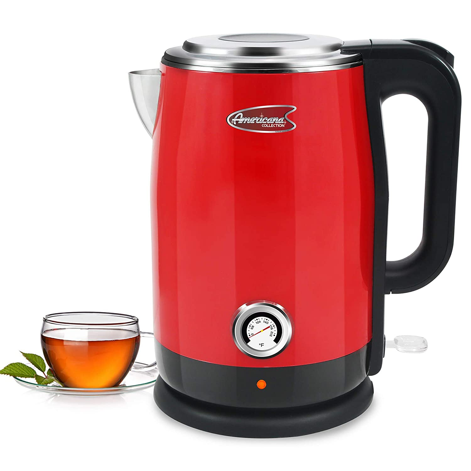 Maxi-Matic Americana by Elite EKT-1780R Double Wall Insulated Cool Touch Electric Water Tea Kettle with BPA Free Stainless Steel Interior and Auto Shut-Off, 1.7L, Red