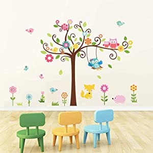 decalmile Owl and Tree Wall Decals Forest Animals Birds Flower Wall Stickers Baby Nursery Kids Bedroom Playroom Wall Decor