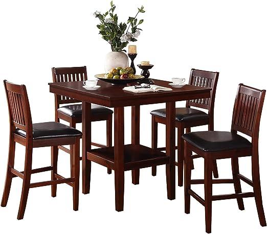 Gainer - Juego de Mesa de Comedor Cuadrada (5 Piezas, 4 sillas ...