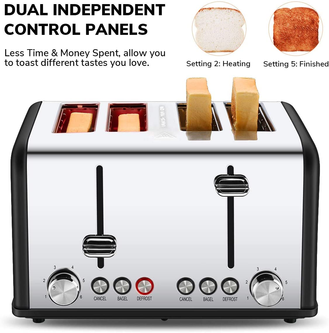 Extra Wide Slots Four Slice Bread Bagel Toaster 1650W Black Toaster 4 Slice CUSIBOX Stainless Steel Toaster with Bagel//DEFROST//Cancel Function