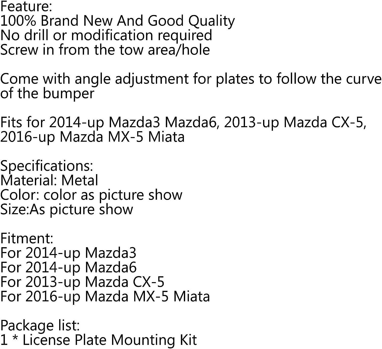 Bruce /& Shark Front Bumper Tow Hook License Plate Mounting Bracket Holder for Mazda3 /& for Mazda6 CX5 MX5