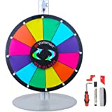 """Voilamart 15"""" Tabletop Spinning Prize Wheel 12 Slots with Aluminum Base, Dry Erase, 2 Pointer, for Fortune Spin Game in Party Pub Trade Show Carnival"""