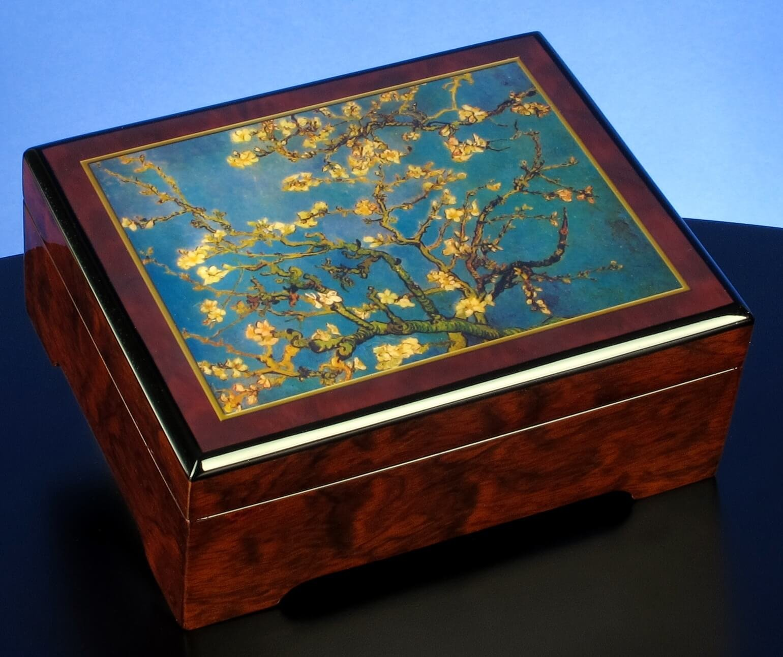 Van Gogh Almond Blossom 1890'' Musical Jewelry Box by The San Francisco Music Box Company