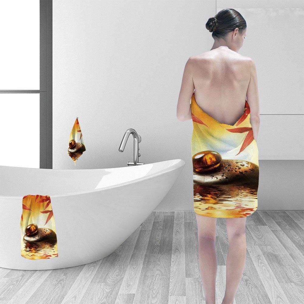 Nalahomeqq Bath towel set Spa still life 3D Digital Printing No Chemical OdorEco-Friendly Non Toxic13.8 x 13.8-11.8''x27.6''-27.6''x55.2''