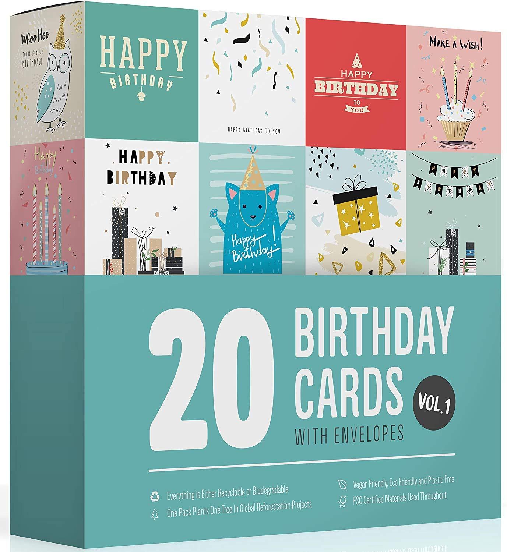 20 Birthday Cards Multipack Vol 1 by Wonder Cards | Eco Friendly | Suitable Women Men Kids