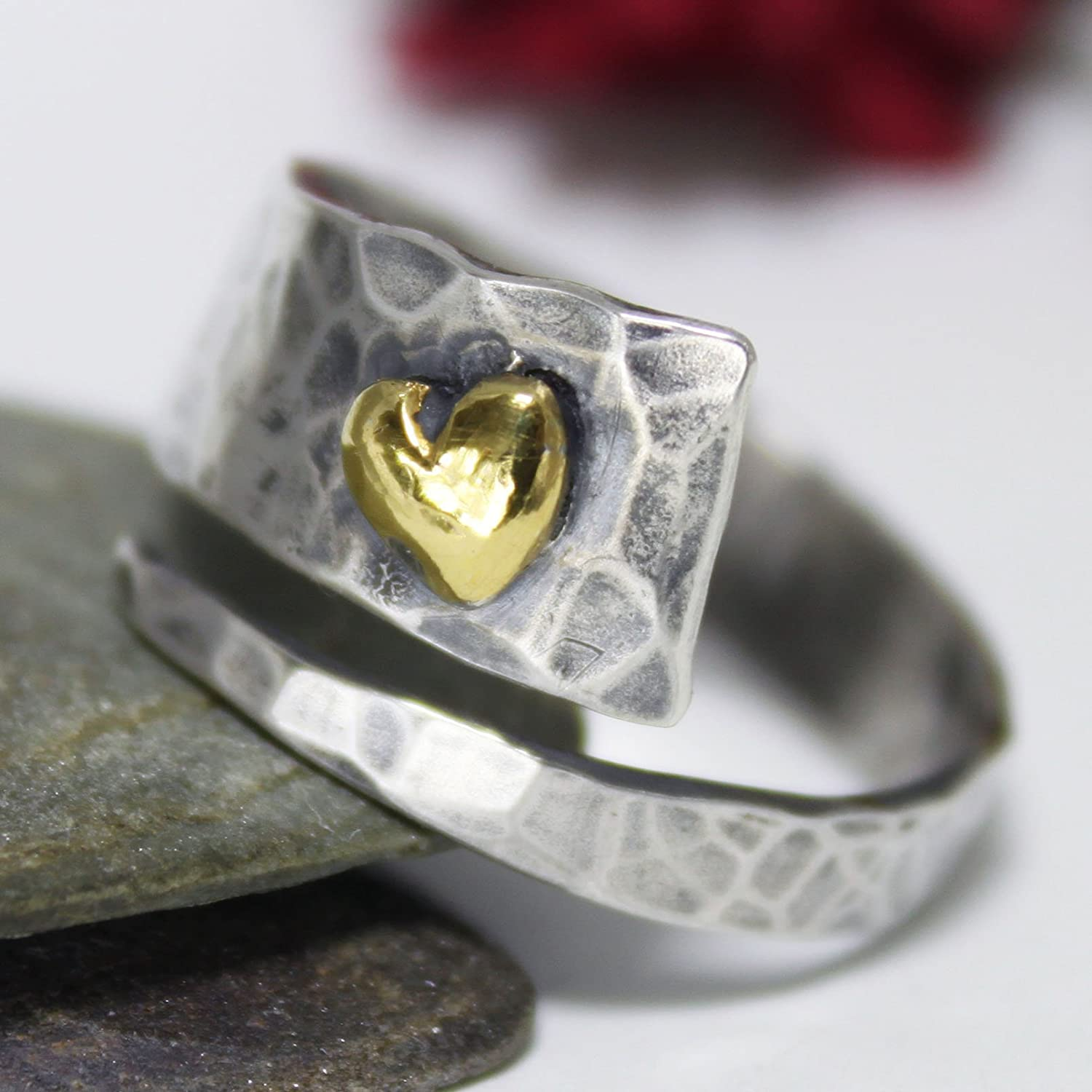 Golden Heart Ring, Adjustable Ring, Unique Sterling Silver 24K Keum-boo Ring, Band Ring, Hammered Ring, Rustic Silver Ring