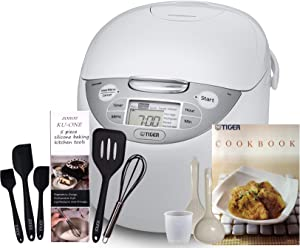 Tiger Corporation JAX-R18U (10 Cups Uncooked/20 Cups Cooked) Micom Rice Cooker & Warmer, Steamer, and Slow Cooker, White & Zonoz Premium 5-Piece Silicone Spatula Set Bundle