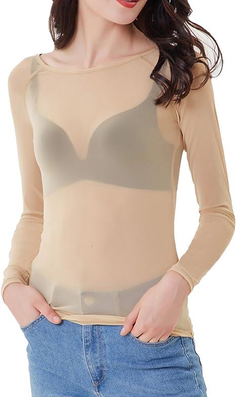 Mangotree Oberteile Damen Langarm Shirt Tiefes V Tief-geschnitten Hemd Transparent Mesh Clubwear Bluse Body T-Shirt Tunika Tops
