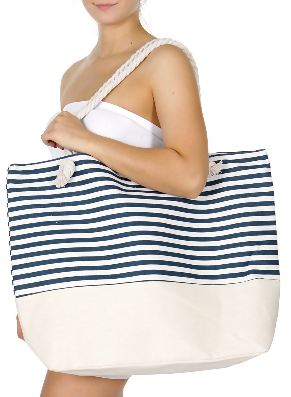 SERENITA Extra large canvas beach bag Stripe 3