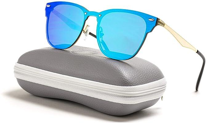 e5cc0ab408 WearMe Pro - Full Rimed Clubmasters Sunglasses (Gold Frame Mirror Blue)