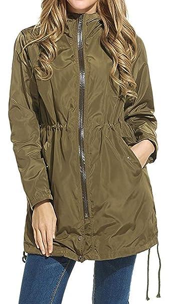HX fashion Chaqueta De Lluvia para Mujer Cazadora Impermeable Basic Parka  Chaqueta Funcional Bolsillo con Capucha Cazadora Transpirable Cuatro  Estaciones ... 06cd3ae11fa3