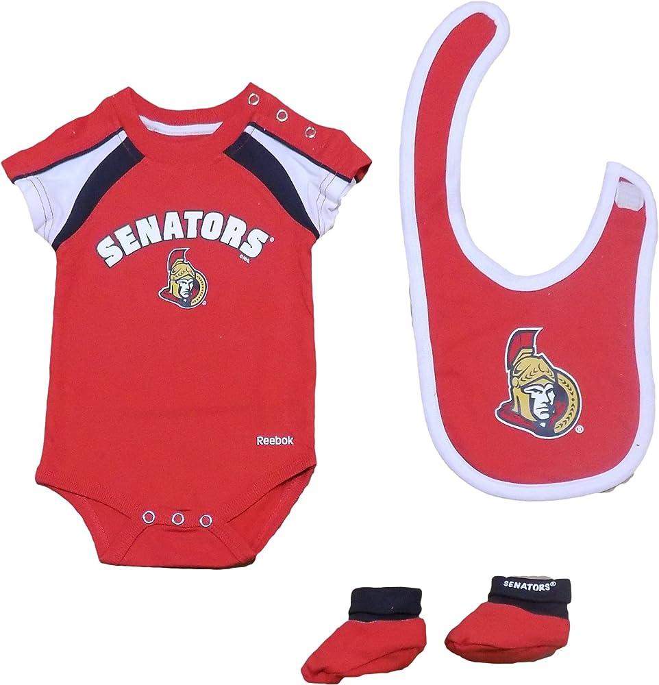 Ottawa Senators Newborn Hat Trick 3-Piece Creeper Set