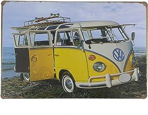 12x8 Inches Pub,bar,Home Wall Decor Souvenir Hanging Metal Tin Sign Plate Plaque (Yellow Travel Bus)