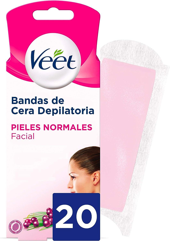 Veet Bandas de Cera Fria Depilatoria para Depilación Facial con Manteca de Karité y Bayas de Açaí, Easy Gelwax, Pieles Normales, 20 Bandas