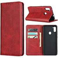"Cavor for Samsung Galaxy A11 Case,Cowhide Pattern Leather Case Magnetic Wallet Cover with Card Slots (6.4"") -Wine Red"