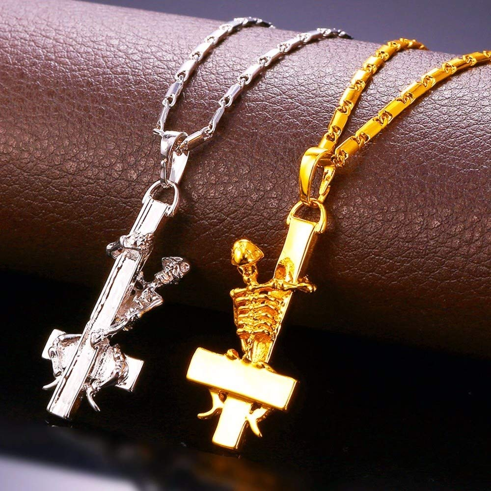 Naomi Inverted St Peter Cross Necklace /& Pendant Gold Color Skull Gothic Occult Satanic Men Jewelry Devil Upside Down Cross Gold one Size