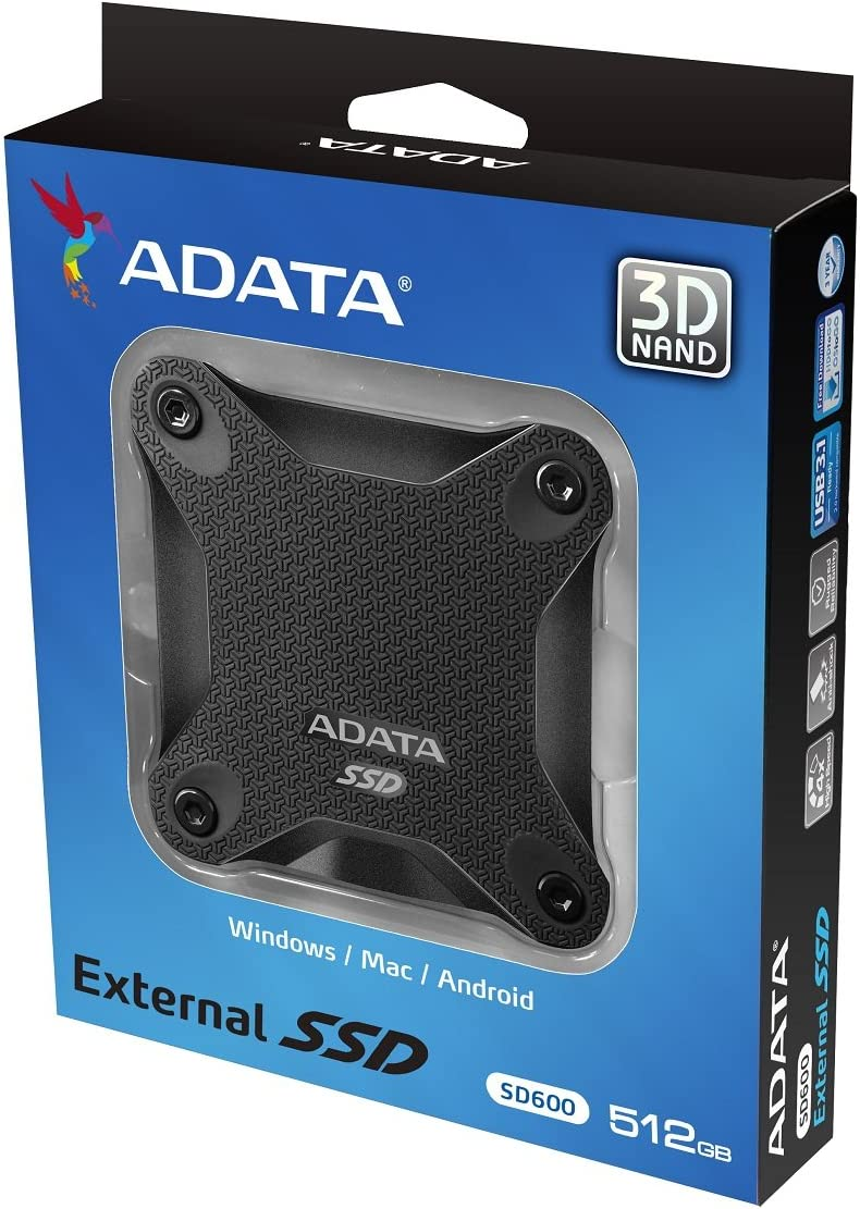 Adata Sd600 External Solid State Drive Black Black Computers Accessories
