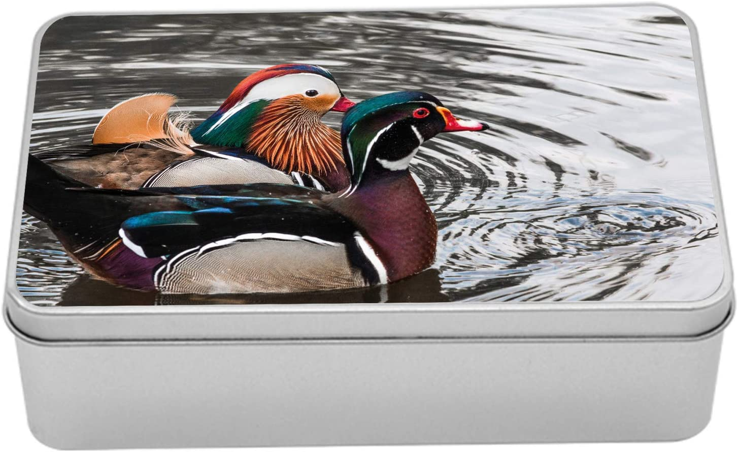 Amazon Com Lunarable Drake Duck Metal Box Animal Print Themed Photo With Swimming Mandarin Duck And Drake Breed On Lake Multi Purpose Rectangular Tin Box Container With Lid 7 2 X 4 7 X 2 2 Multicolor