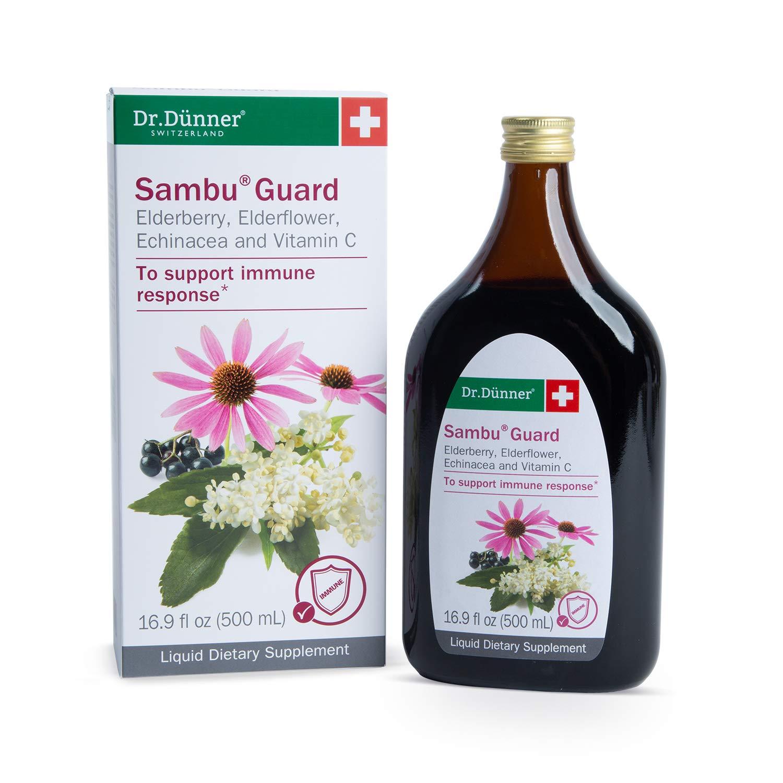 Dr. Dünner Sambu Guard Black Elderberry Syrup with Elderflower, Echinacea & Vitamin C, 16.9 fl oz - for Immune Support, Non-GMO, Gluten Free, Lactose Free, Vegetarian