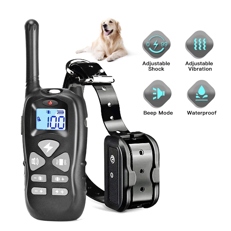 Shock Collar for Dogs,Dog Training Collar – Rechargeable Dog Shock Collar with Remote w 3 Training Modes Beep Vibration Shock Waterproof 1500FT Dog Shock Collar for Small Medium Large Dogs