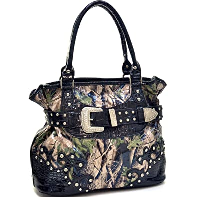 8ed7a3b46 Amazon.com: Western Faux Patent Leather Studded Camouflage Handbag, Shoulder  Bag, Tote with Rhinestone Buckle and Croco Leather Trim: Shoes