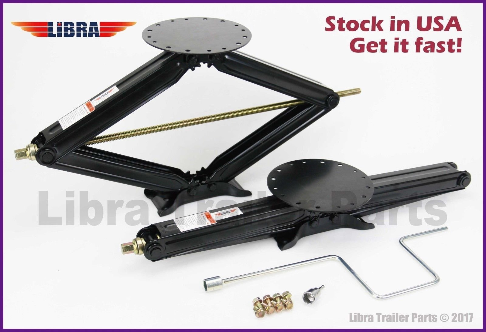 LIBRA Set of 2 5000 lb 30'' RV Trailer Stabilizer Leveling Scissor Jacks w/Handle and Socket - 26021 ... by LIBRA