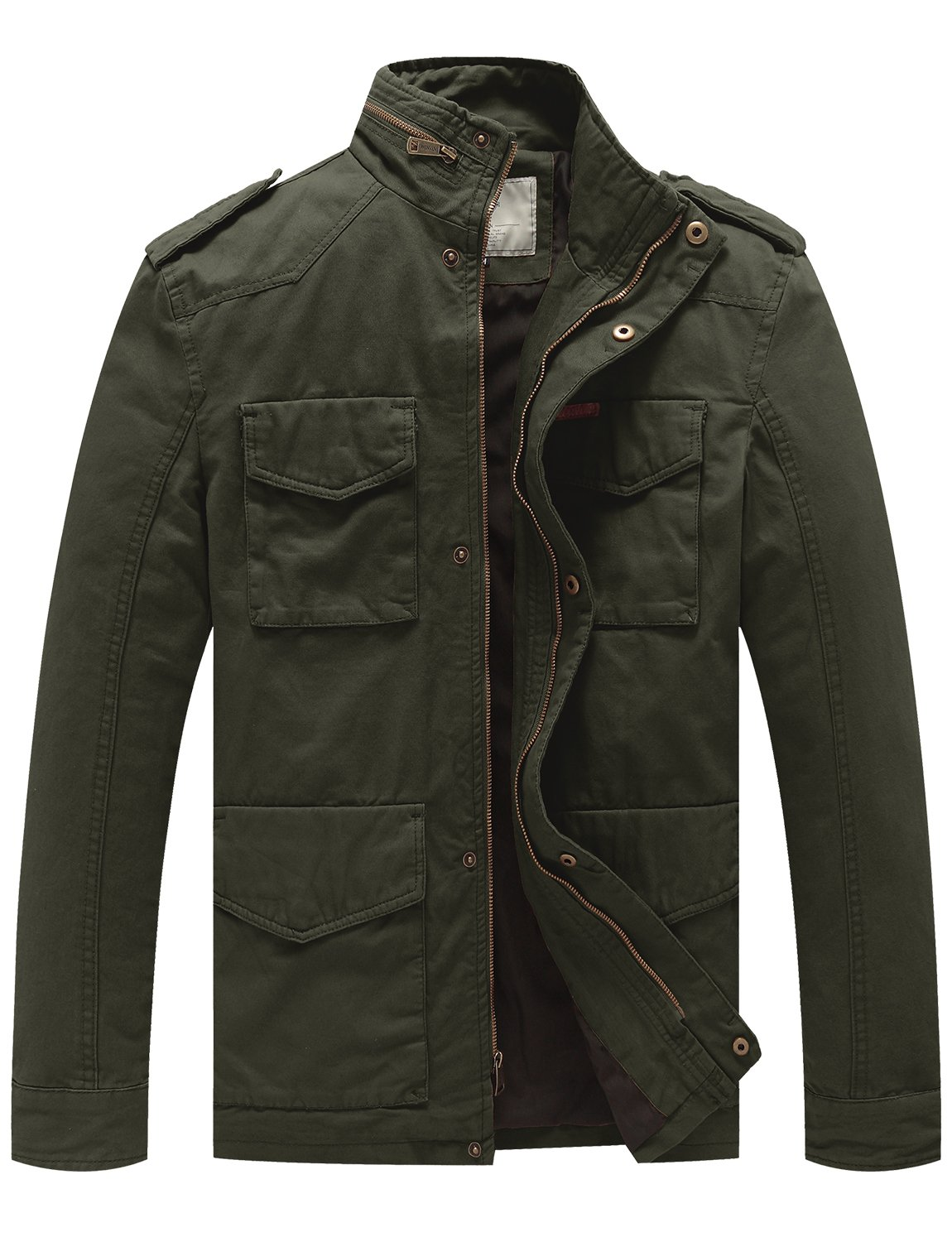 WenVen Men's Cotton Military Stand Collar Field Jacket (Army Green, Large) by WenVen
