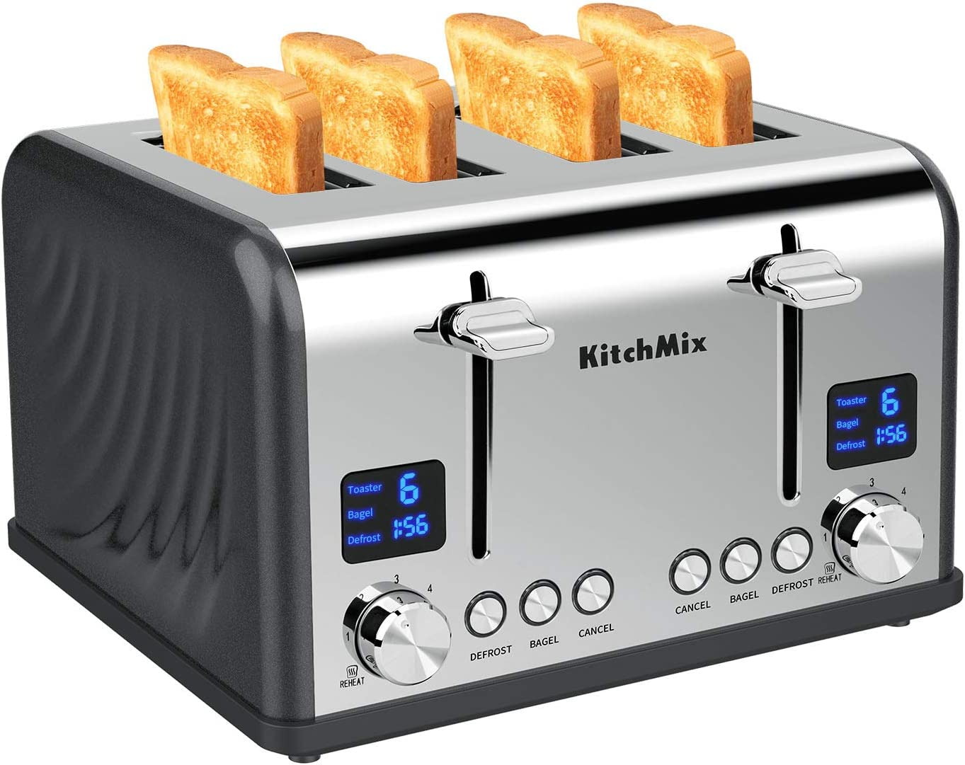 Toaster 4 Slice, KitchMix Bagel Stainless Toaster with LCD Timer, Extra Wide Slots, Dual Screen, Removal Crumb Tray