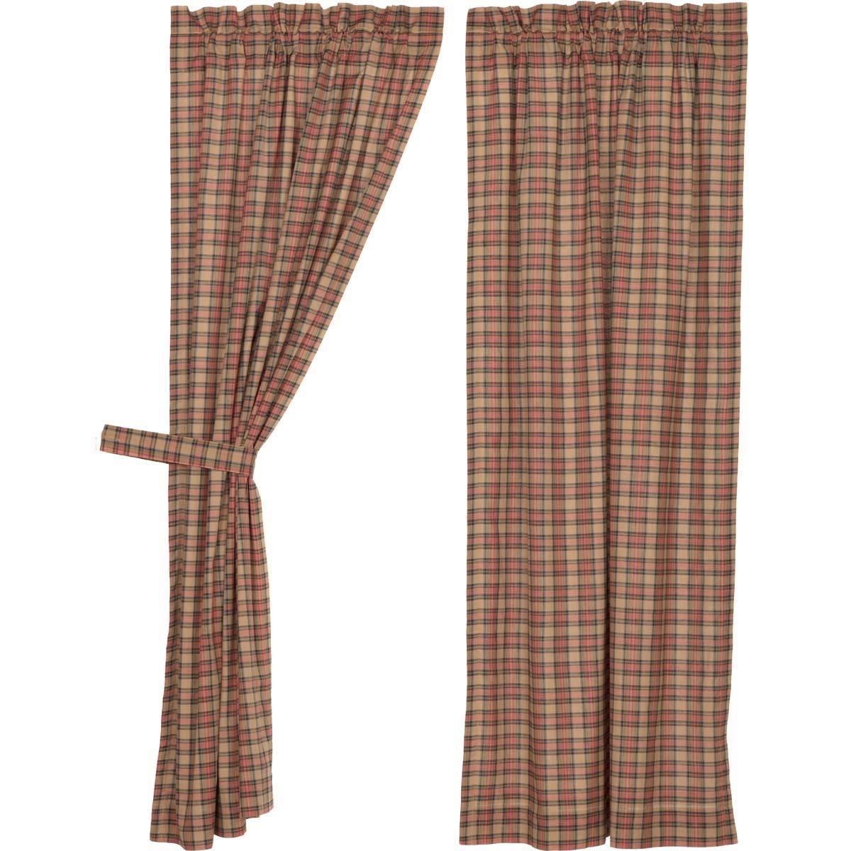 VHC Brands Primitive Curtains Cinnamon Rod Pocket Cotton Tie Back(s) Plaid Panel Pair Natural Tan