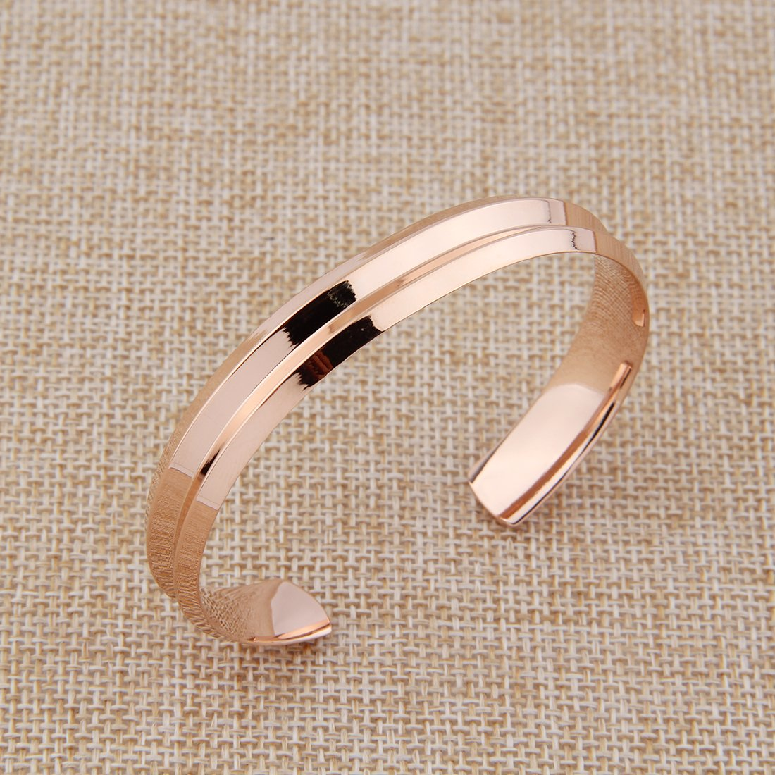 ZUOBAO Stainless Steel Hair Tie Hand Stamped V Groove Cuff Bangle