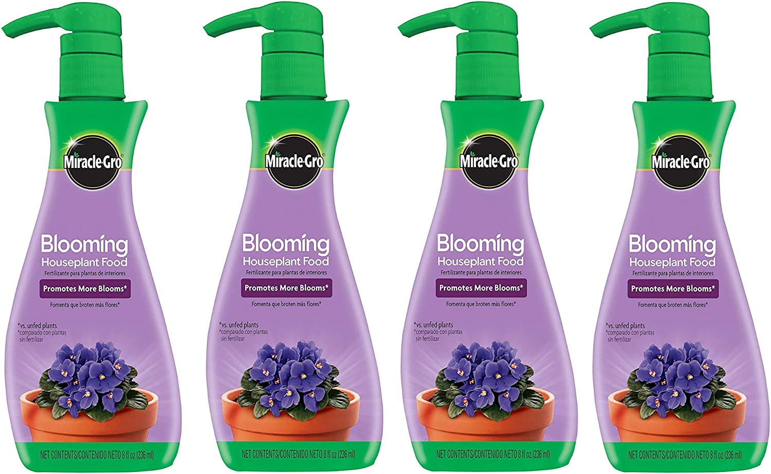 Miracle-Gro Blooming Houseplant Food, 8 oz, Plant Food Feeds All Flowering Houseplants Instantly, Including African Violets, 4 Pack