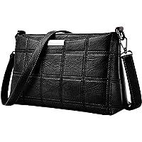 Barlingrock Fashion Women Handbag Shoulder Small Square Package Leather Plaid Messenger Bag,Handle Work Bags,Messenger Shoulder Bag,Women's Retro Sling Shoulder Bag,Valentine's Day Gift!