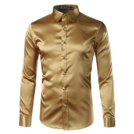Beancan New Gold Silk Satin Shirt Men Chemise Homme New Fashion Mens Slim Fit Long Sleeve emulation Silk Button Down Dress Shirt Red Dark Gray Asian Size ...