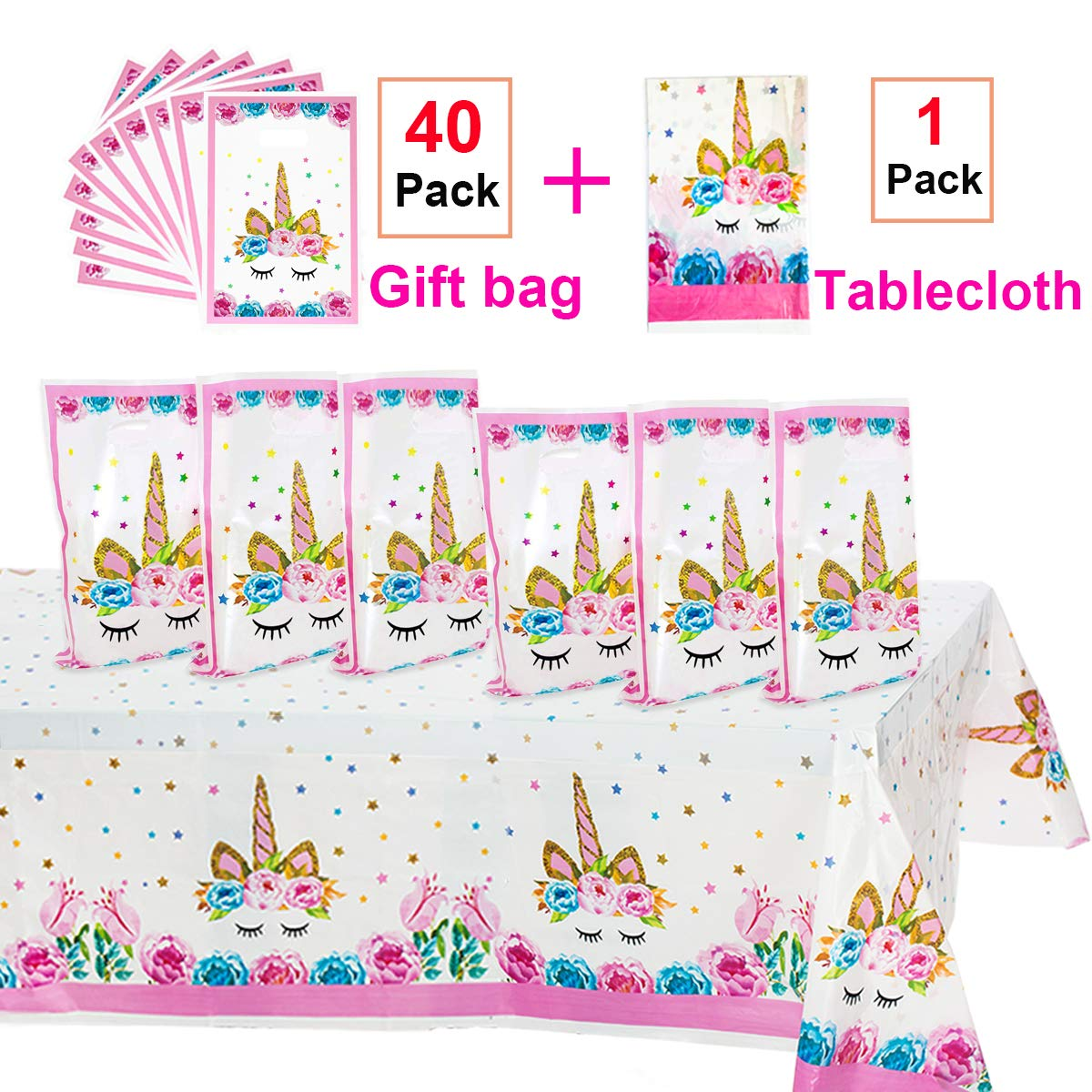 Unicorn Party Supplies,40 Pack Unicorn Plastic Party Bags & Unicorn Plastic Tablecloth Set,Unicorn Goodies Gift Treat Bags for Candy,Kids Girls ...