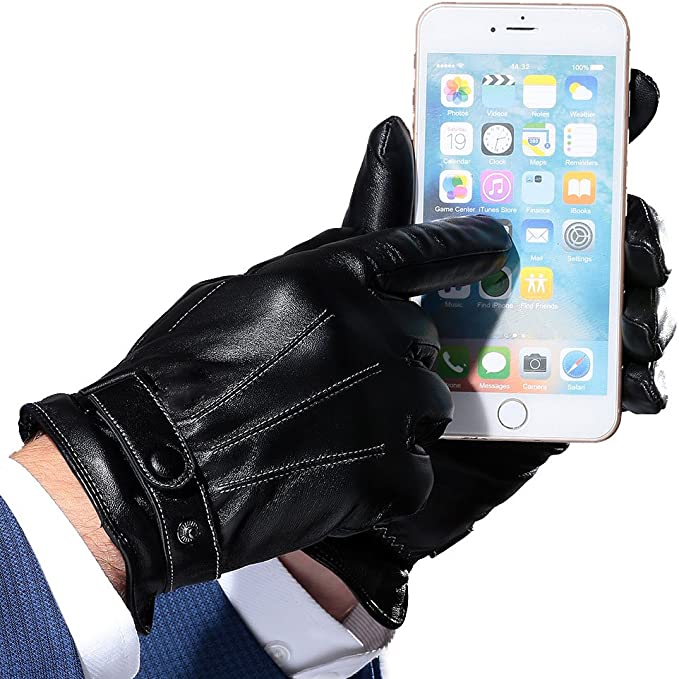 Doscyeeb Mens Touchscreen Texting Winter Leather Dress Driving Gloves