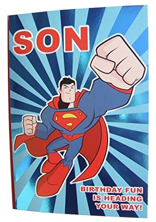 Superman Geburtstagskarte für A Son von Hambledon Studios: Amazon