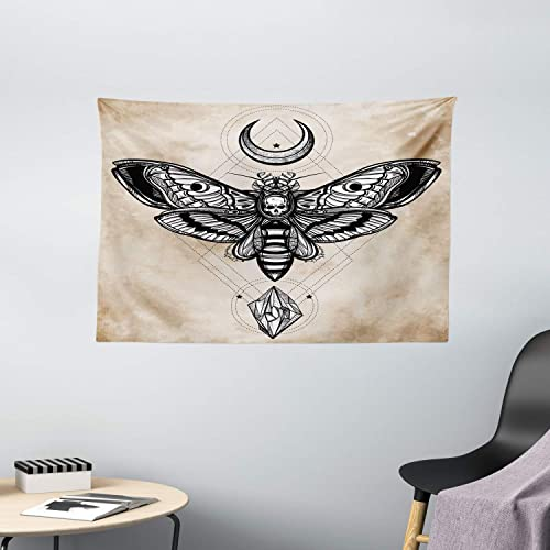 Ambesonne Fantasy Tapestry, Dead Head Hawk Moth with Luna and Stone Magic Skull Illustration, Wide Wall Hanging for Bedroom Living Room Dorm, 60 X 40 , Black Beige