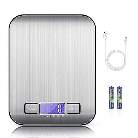 MOSUO Báscula Cocina Digital con Cable USB, Bascula Precision Cocina 10kg/1g Peso de