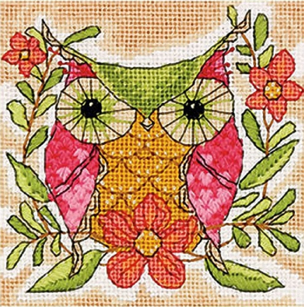 5 x 5 Whimsical Owl Pattern Dimensions Needlepoint Kit
